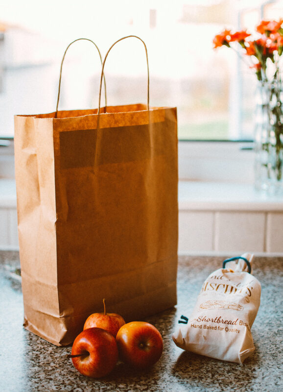 Paper bag and apples