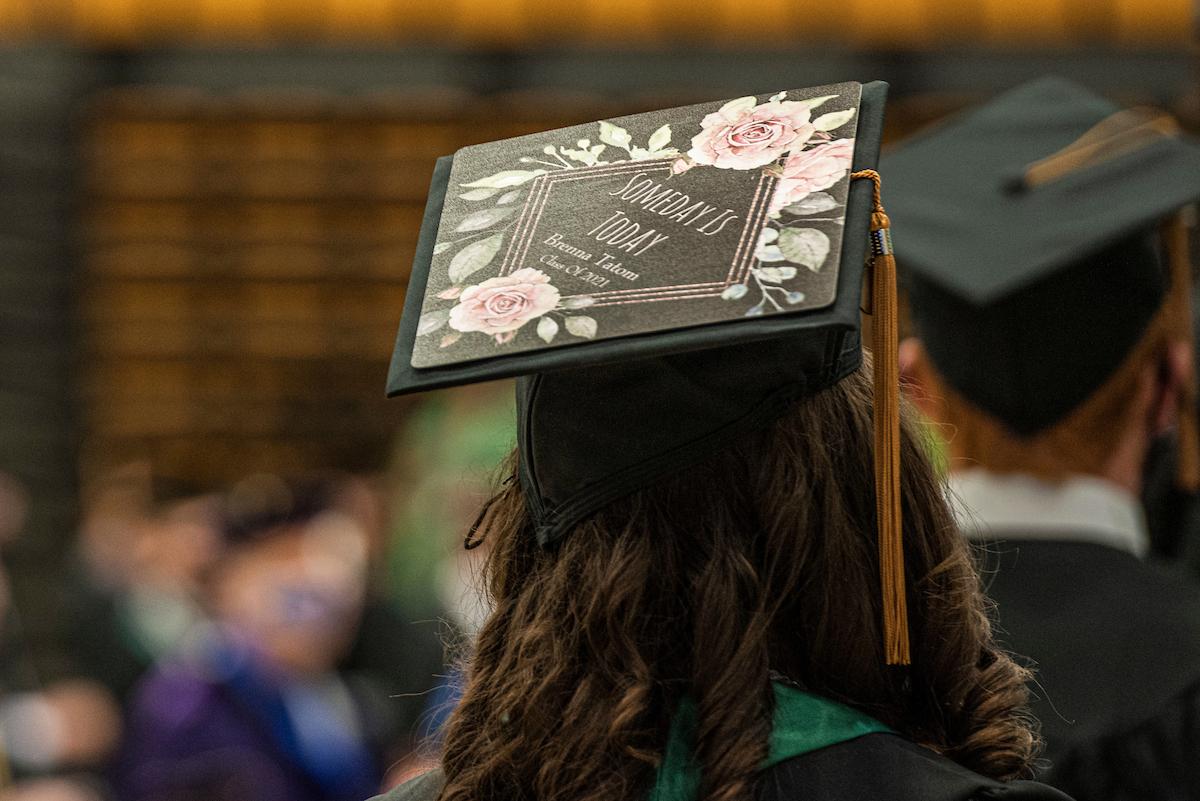 Mortarboard at graduation ceremony